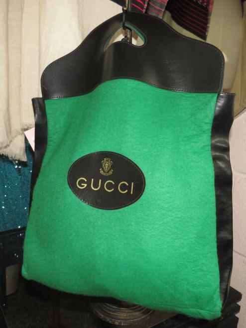 1970's Gucci Green Felt Tote Bag