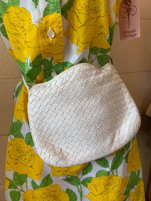 """""""Charles Jordan"""" White Woven Leather Handbag"""