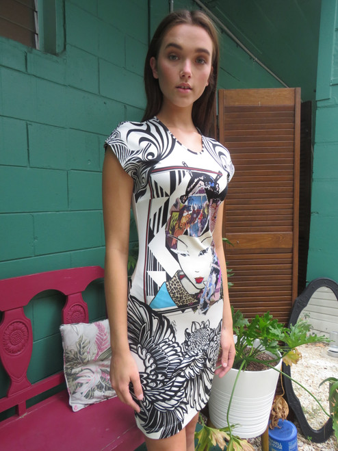 """""""Just Cavalli"""" Print Polyester Dress With Tags"""