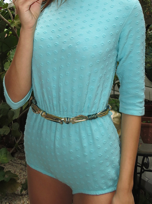 Teal, White, Gold Multi Stand Belt w/ Abalone Accents