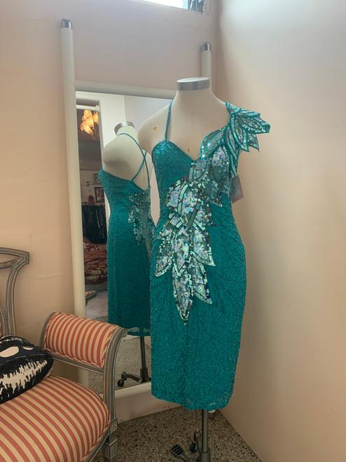 SOLD Black Tie Aqua Sequined Dress