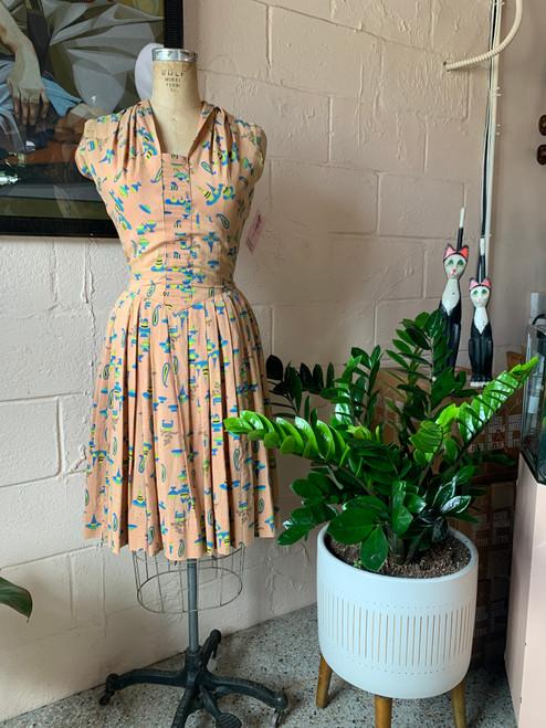1950's Tan w/ Clip art Scattered Dress