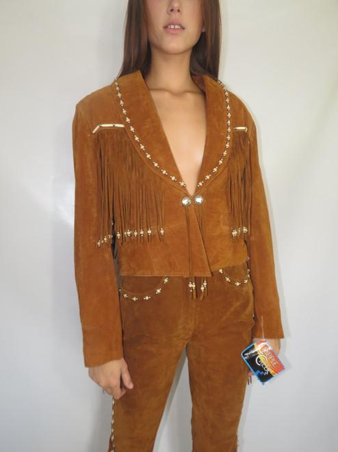 "Brown Leather Beaded Fringe ""Cripple Creek"" Dead stock Jacket & Pants"