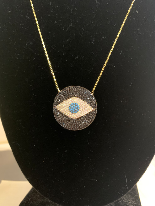 Evil Eye w/ Crystals Circle Necklace