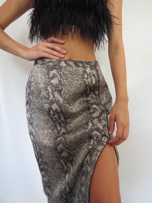 """Perry Ellis"" Silk Snakeskin Skirt"