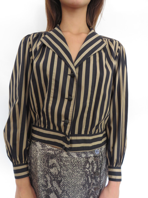 """DeJue Paris"" Blak&Gold Striped Blazer"