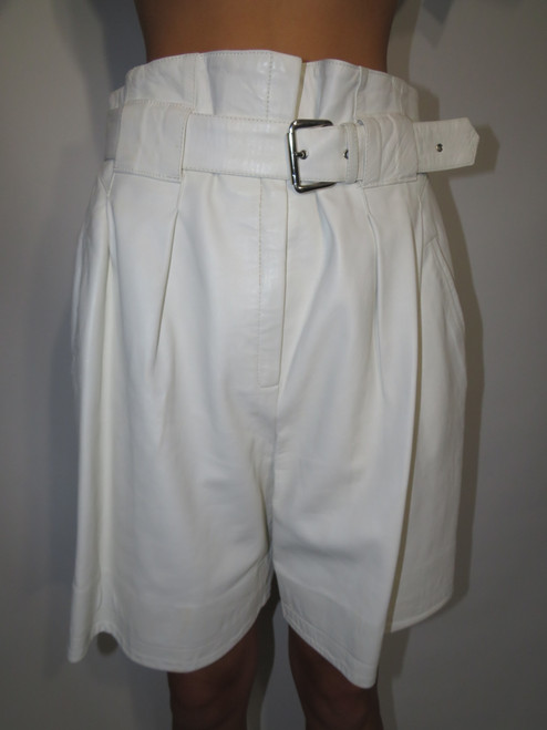 """Jeanclaude L'toise Paris"" White Paper Bag Leather Pants"