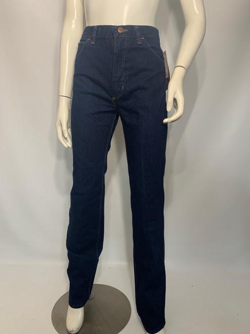 """Wrangler"" Dead Stock Dark Wash Denim Jeans w/ Leather Detail on Pockets"