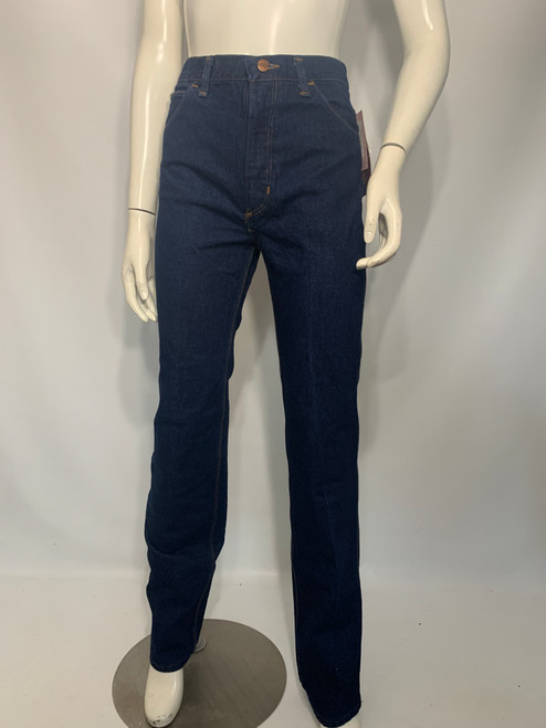 """Wrangler"" Dead Stock Dark Wash Denim Jeans w/ Leather Detail on Pockets"