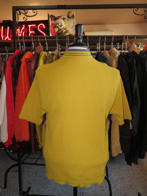 """Robert Bruce"" Yellow with Blue Stripe Turtleneck Short Sleeve Knit"