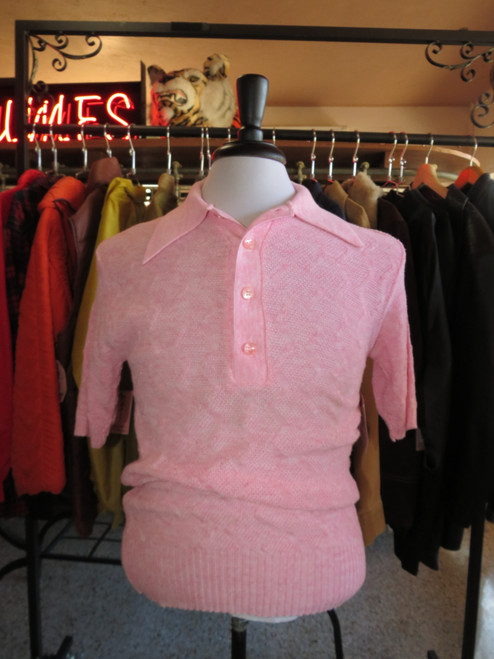 """""""Campus"""" Pink Knit Polo"""
