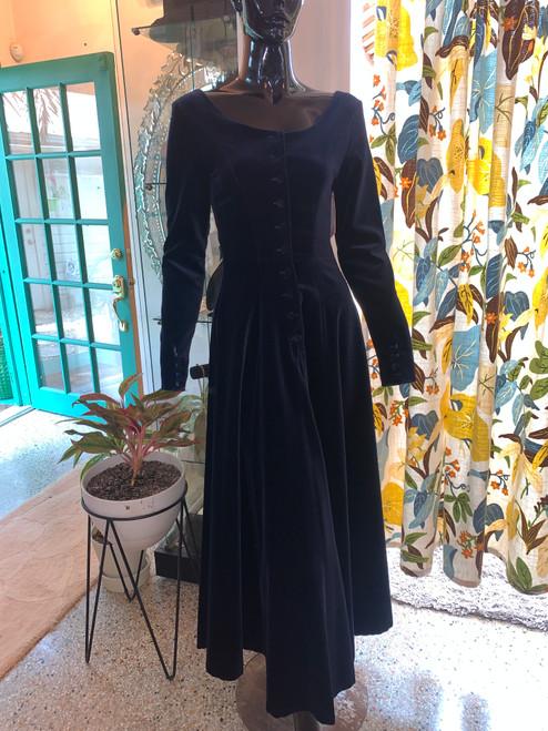 """""""Laura Ashley""""  Navy Velvet T-length Dress with Matching Velvet Buttons"""