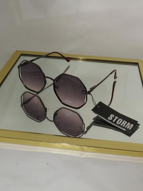 """Storm"" Hippodamia Purple Octagon Frame Sunglasses"