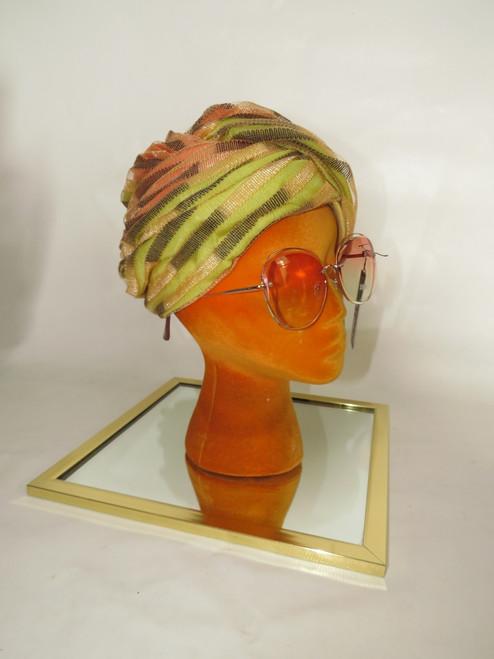 """Christian Dior"" Salmon & Green w/ Champagne&Black Ribbon Detail Turban w/ Original Box"