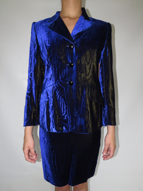 """""""Escada"""" 2pc. Royal Blue Velvet Wood Pattern Suit"""