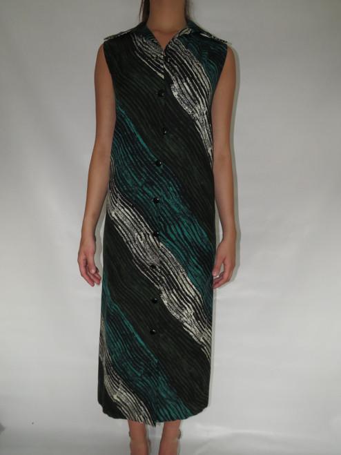 """Pauline Trigere"" Blue ,Green, Black, White Abstract Stripe Pattern Long Button Down Dress"