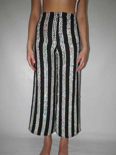 """Lynn Stuart"" Black & White Sequin Stripe Pants"
