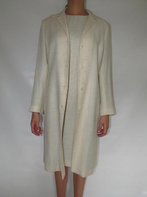 """""""D&G"""" 2pc. Cream Linen w/ Cheetah Lining Dress&Coat"""