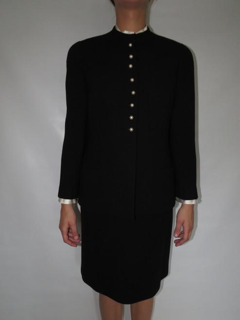 """Chanel"" 2pc. Black w/ Pearl Buttons & Removable Blouse Detail Skirt Suit"