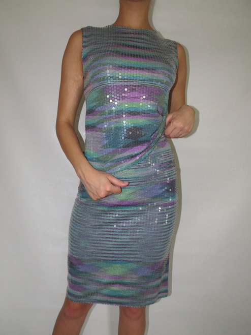 """""""Missoni"""" 2pc. Cool Tone Abstract Stripe Knit w/ Clear Sequins Top&Skirt"""