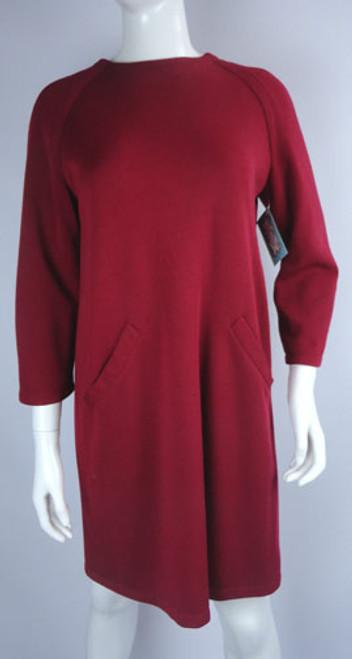 Vintage 1980s Bill Blass Red Sweater Dress