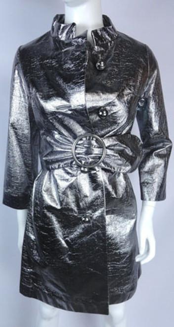 Vintage 1970s Silver Metallic Swing Coat
