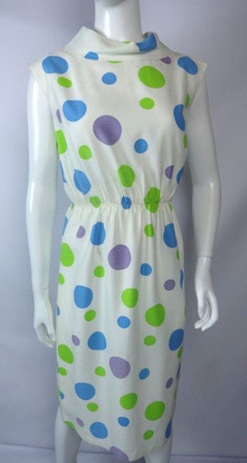 Vintage 1960s Green, Purple, Blue Polka Dot Shift Dress by Nardis of Dallas