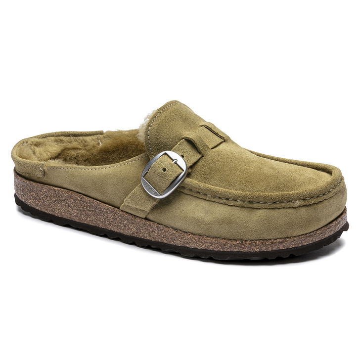 Birkenstock - Buckley Shearling Clog - Olive Tree Suede