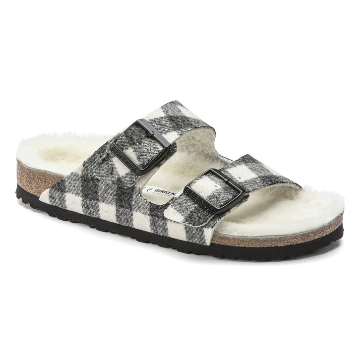 Birkenstock - Arizona Rivet Sandal - Plaid White Wool/Shearling