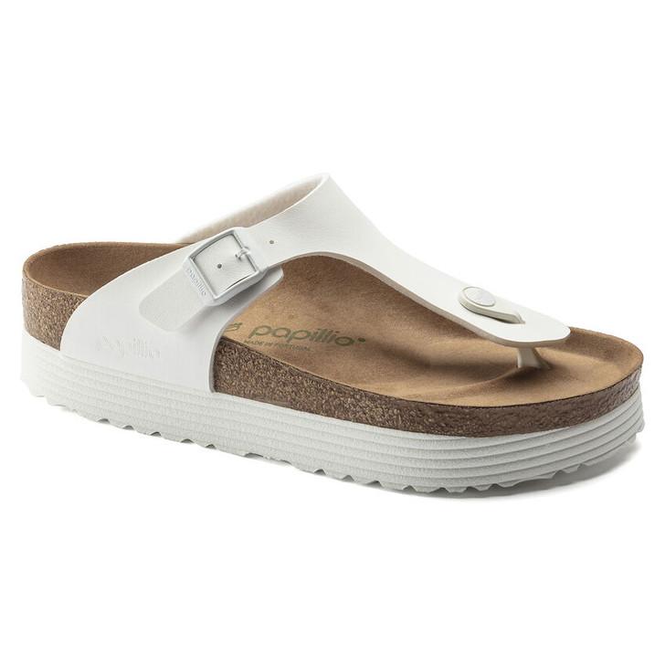 Birkenstock Papillio - Gizeh Platform Vegan Sandal - White Birko Flor