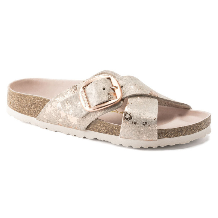 Birkenstock - Sienna Big Buckle Sandal - Vintage Metallic Rose Copper Leather