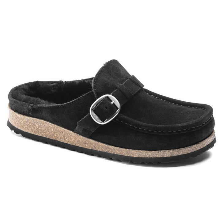 Birkenstock - Buckley Shearling Clog - Black Suede Leather