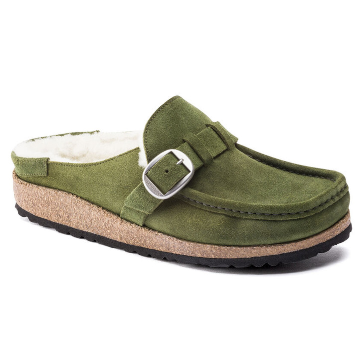 Birkenstock - Buckley Shearling Clog - Mountain View Green Suede Leather