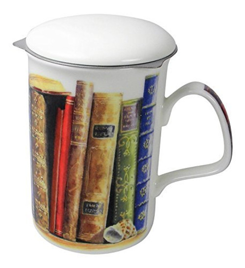 Perfect gift for the book and tea lover In your life. 16 ounce bone china mug with infuser to make tea.