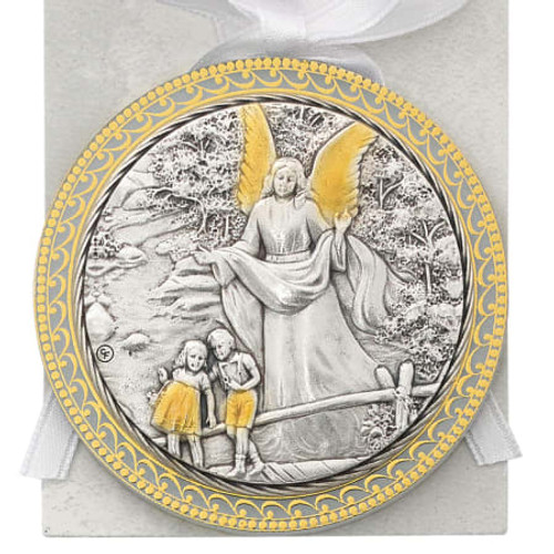 Baby Guardian Angel Crib Medal,  White