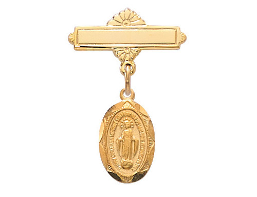Miraculous Medal Gold Plate Baby Pin