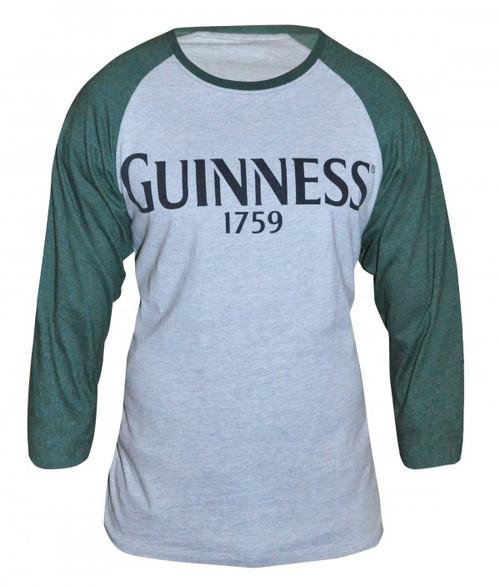 Guinness Heatherd Gray Baseball LS Tee