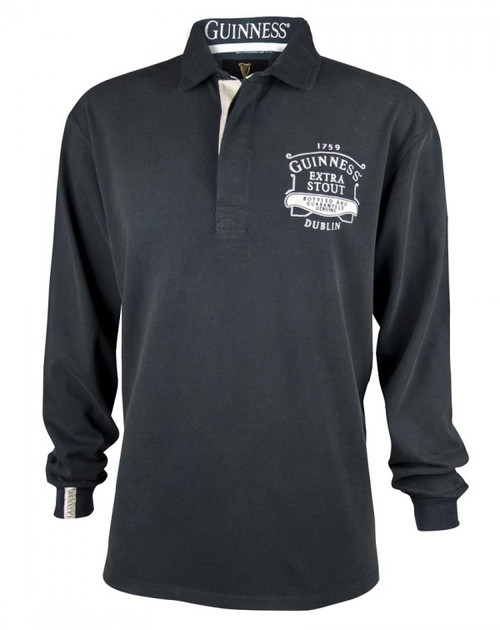 Guinness Classic Black Washed Rugby Jersey