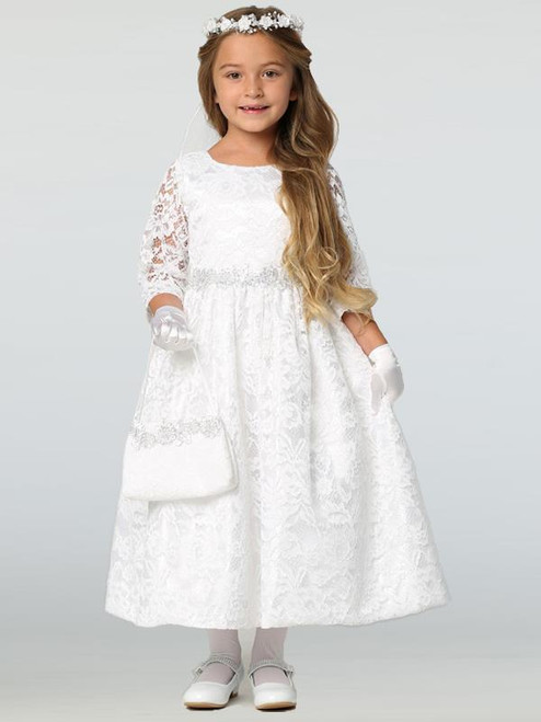 Long Sleeve Lace First Communion Dress