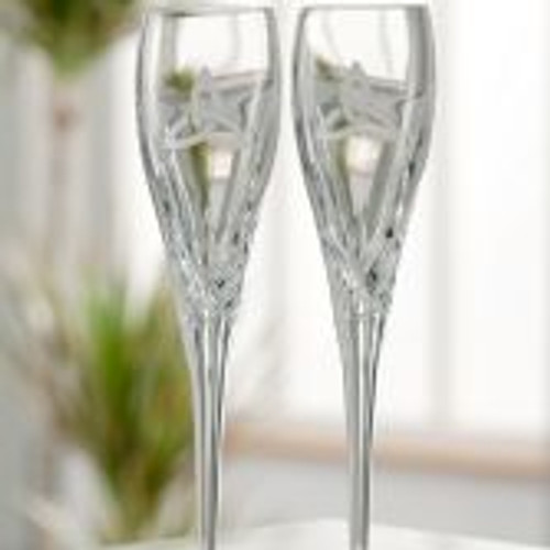 Galway Crystal Trinity Knot Flute Pair