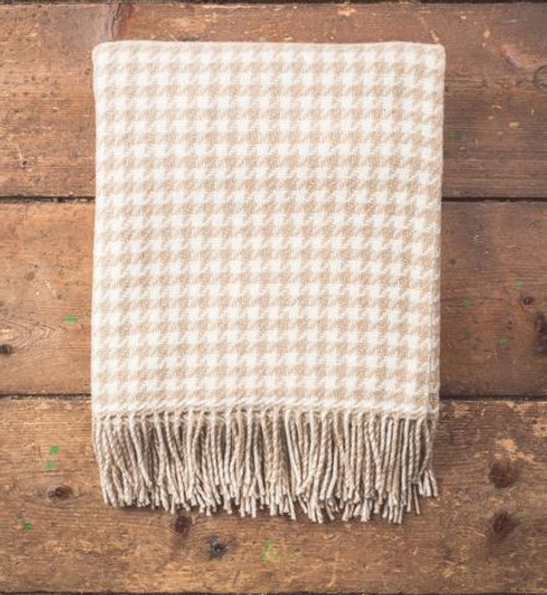 Bone Houndstooth Lambswool Throw