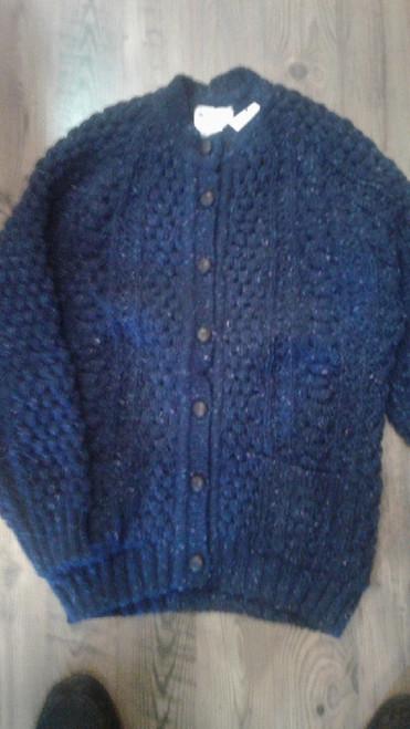 Rita Condron Women's Hand Loomed Cardigan Sweater Blue