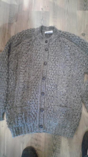 Rita Condron Women's Hand Loomed Cardigan Sweater Grey