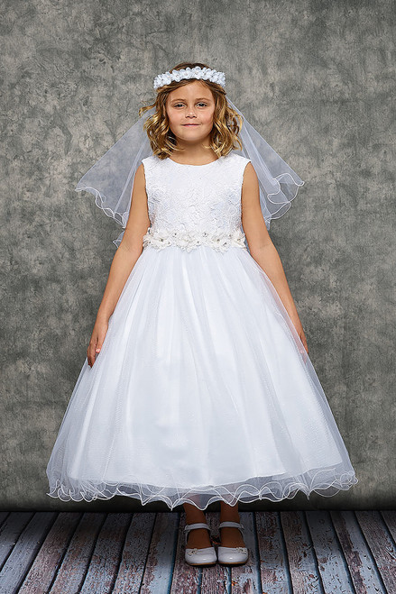 KD468 Lace Glitter Tule First Communion Dress