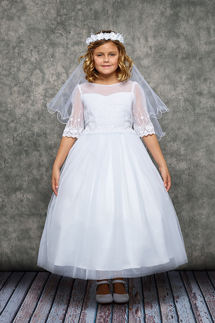 Embroidery Mesh Half Sleeve First Communion Dress