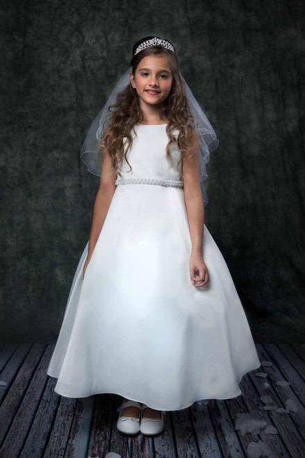 Satin First Communion Dress with Pearl Waist Detail