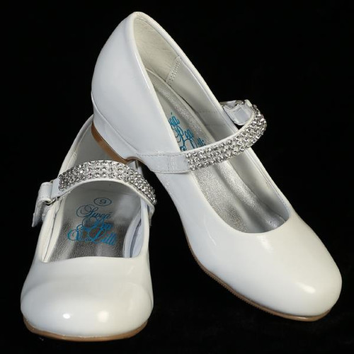 "XMIA   1"" heel shoes with rhinestone strap"