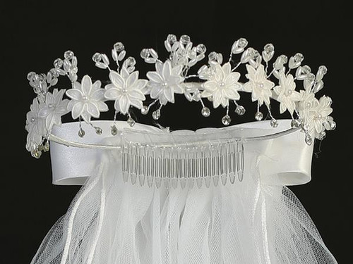 T-22  Satin Flower Crown with Veil