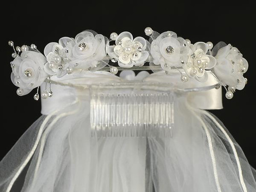T-441 First Communion Headpiece with Pearls and Flowers