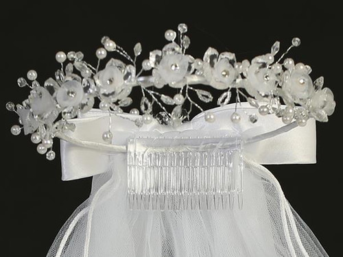 T-28 First Communion Heidpiece with flowers and rhinestones